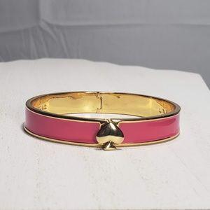 kate spade Hinged Pink Gold Logo Bangle Bracelet
